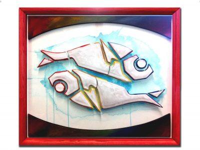 pesci, alici, ceramica, legno , angelo toto